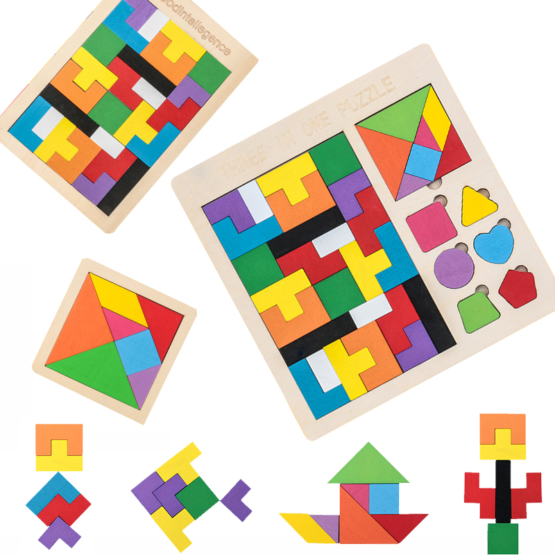 3 in 1 3D Puzzle Wooden Tangram Children Pre-school Magination Intellectual Educational Math Toys Game Puzzle Bloacks for kids 1
