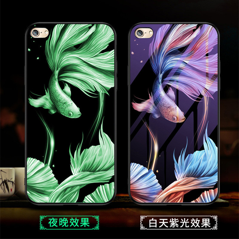 H73854f7ca80b42db8c3242298d69218aT Luminous Tempered Glass Case For iPhone 5 5S SE 6 6S 7 8 Plus Case Back Cover For iPhone X XR XS 11 Pro Max Case Cover Cell Bag