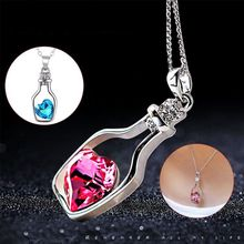 Fashion Necklace Women Charm  Love Heart Silver Necklace statement  Pendant Crystals Necklaces Jewelry Valentines Day Gift