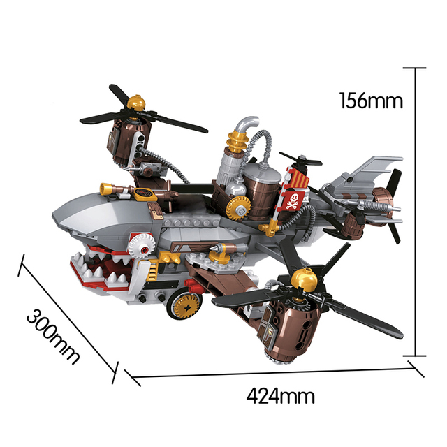 City Creator Age Of Steam Series Shark Airship Building Blocks Military Helicopter Figures Bricks Toys for Children Gift
