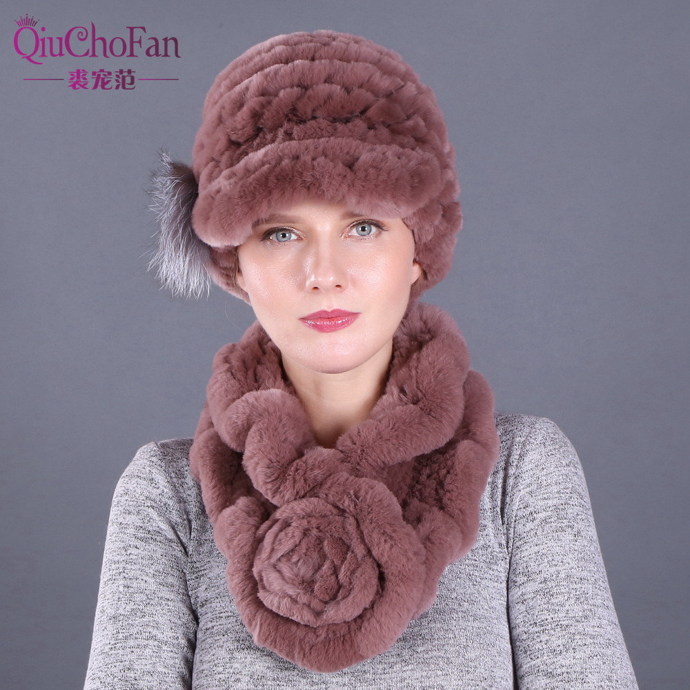 Winter Natural Rex Rabbit Fur Caps & Straight Rex Rabbit Fur Scarves Set Knitted Women Warm Real  Fur Caps Scarf Set