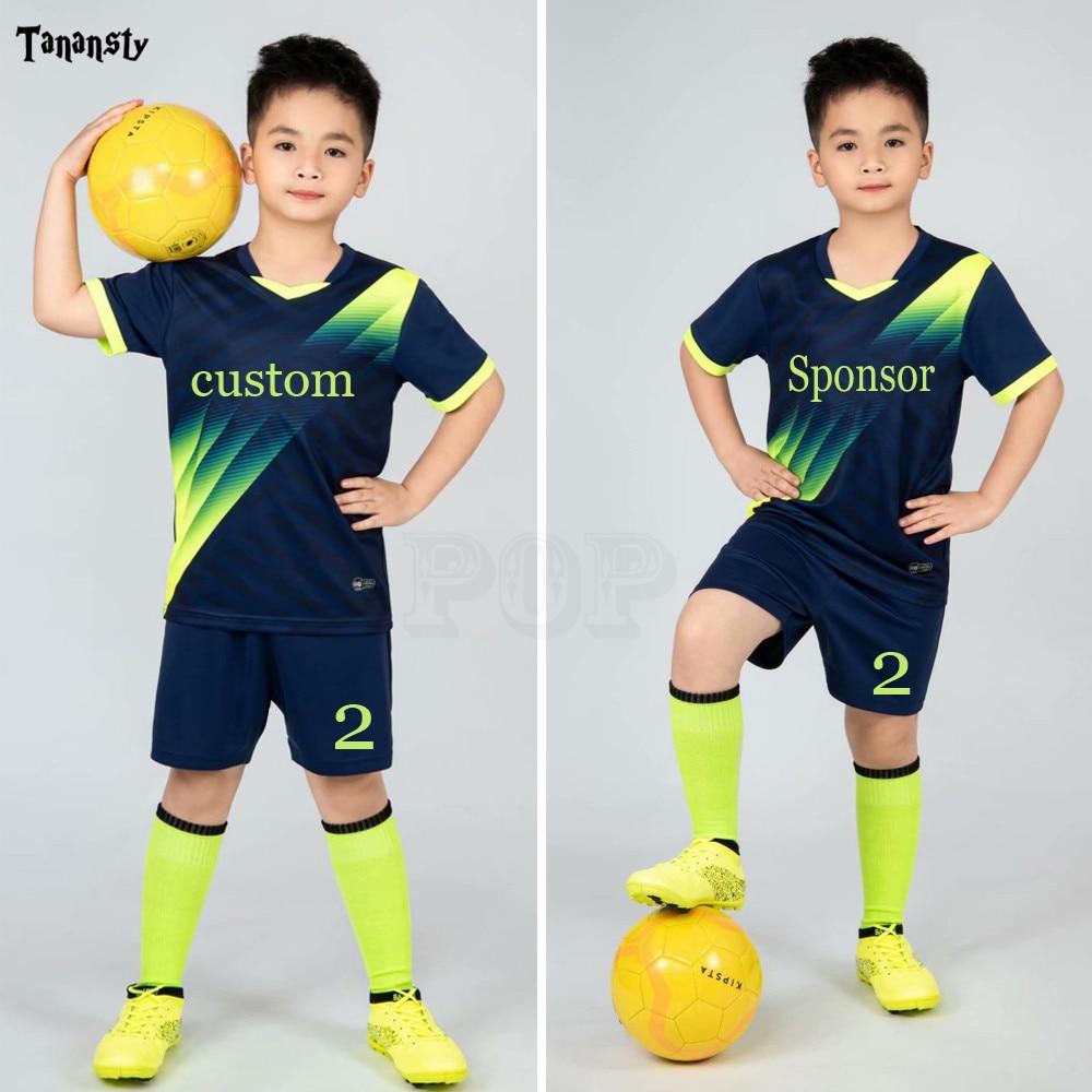 Kids football Uniforms boys girl soccer Jerseys Custom child Soccer Jersey Set Sportswear t-shirt sports suit new style 1