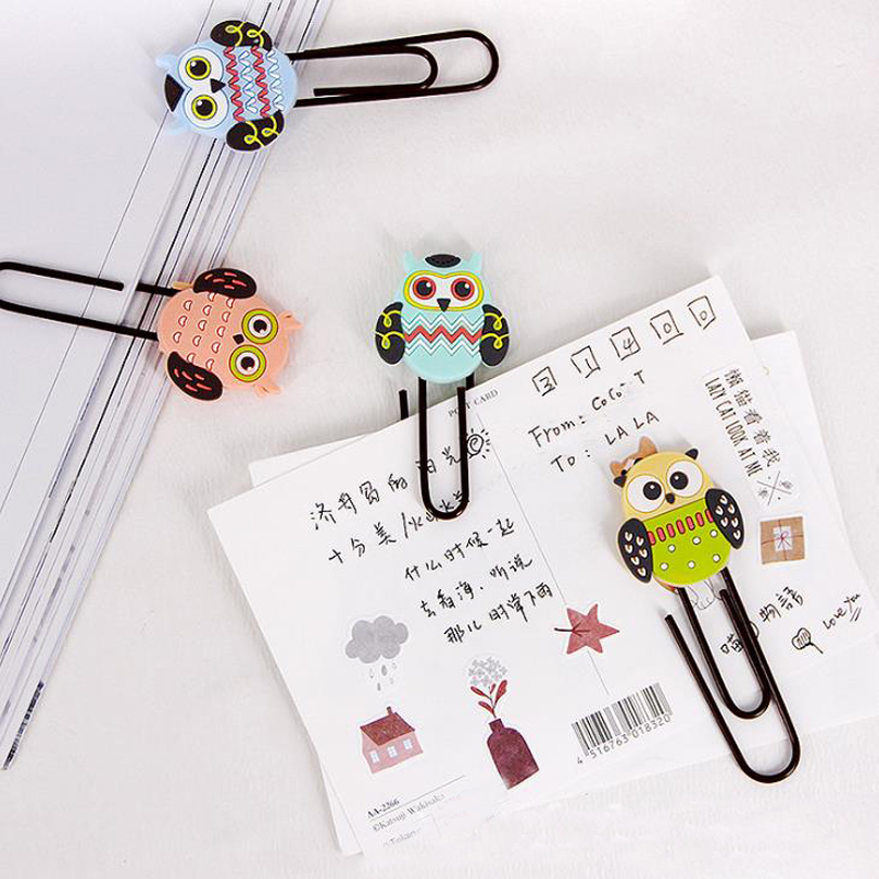 2 Pcs/pack Lovely Stationery Cartoon Owl Paper Clips Paging Bookmarks Colored Soft Photo Memo Clips Student Gifts