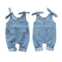 Trousers Pants Overalls Baby-Girls Denim Solid 4M-2T Children Sleeveless