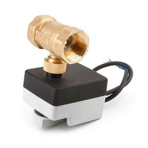 Image 5 - AC220V DN15 DN20 DN25 2 طريقة 3 أسلاك النحاس صمام كروي مزود بمحرك الكهربائية Actuato مع مفتاح يدوي 77UC الجملة دروبشيبينغ