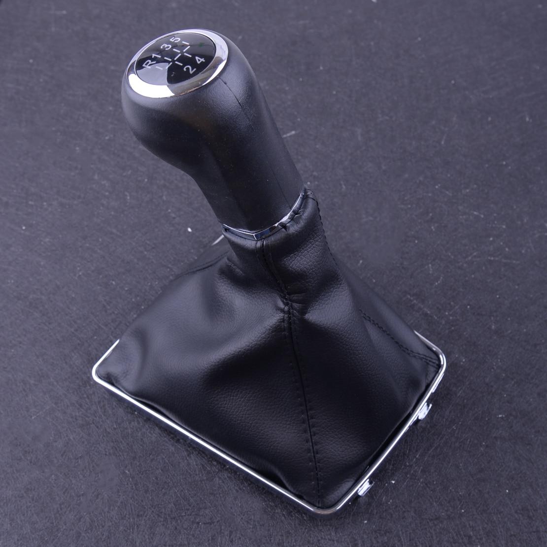 Black Leather Stitch Manual Automobile 5-Speed Gear Stick Shift Knob j Kit Trim