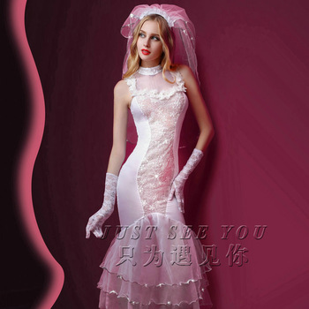 Women Sexy Roleplay Lace White Long Wedding Dress Lady Cosplay Godness Bride Costumes Holiday Party Outfit accessories new 11 5 12 doll clothes long tail evening party wedding party lace dress gift present for barbie outfit costumes