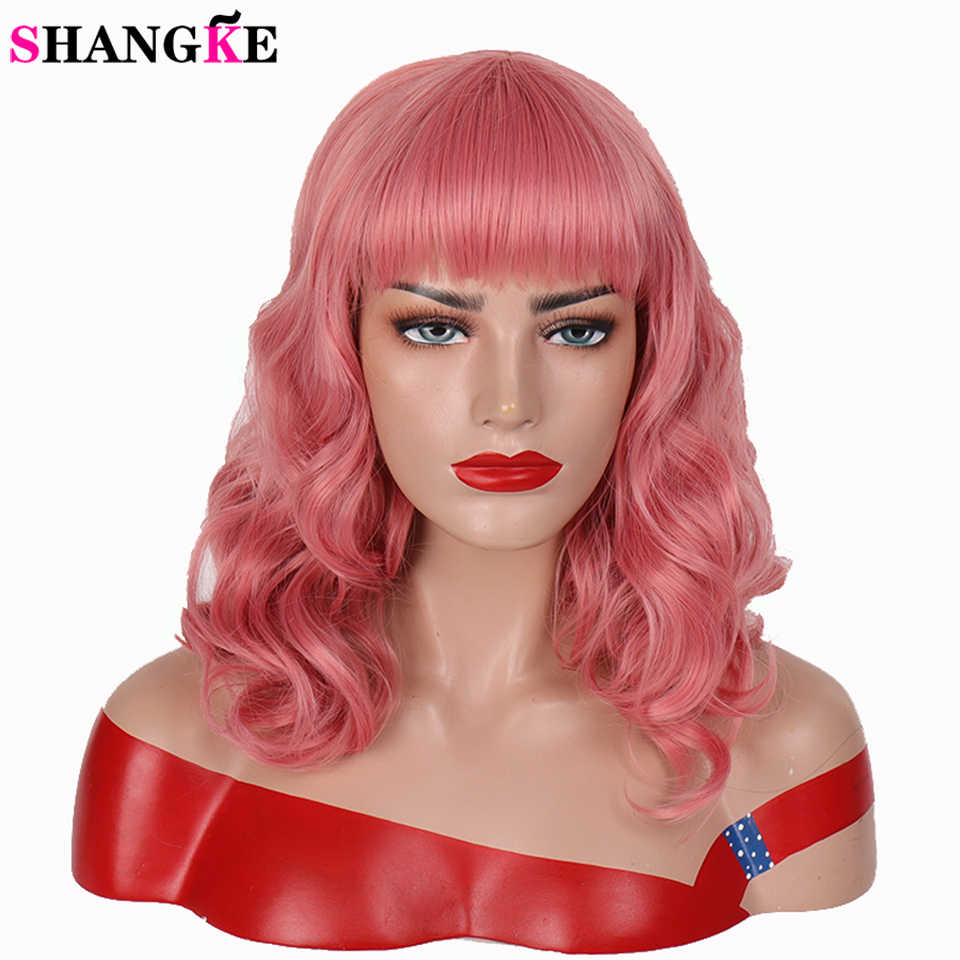 Shangke Short Bang Perücke Rockabilly Vintage Cosplay Perücke Mit Pony Synthetische Lockige Blonde Rosa Perücken Für Frauen Hitze Beständig Faser