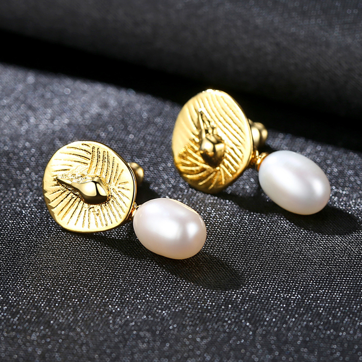 YUEYIN 925 Sterling Silver Earrings18K Gold Plated Nature Pearl Fine Jewelry Korean Earrings High Quality Fashion Style 2019 in Earrings from Jewelry Accessories