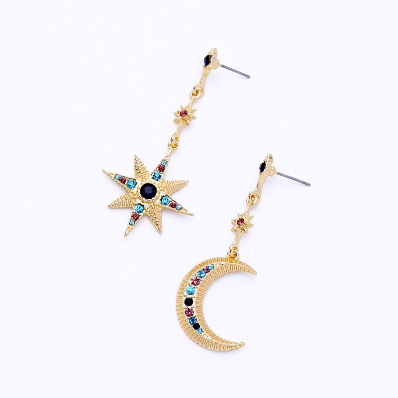 2020 New Design Long Fairy Multi Color Unique Moon Star Asymmetric Crystal Pendant Earrings For Women Girl Wholesale Factory