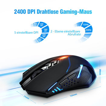 VicTsing Wireless Gaming Mouse  Color Backlit 2400 DPI  7 Programmable Buttons Gamer for Dota 1