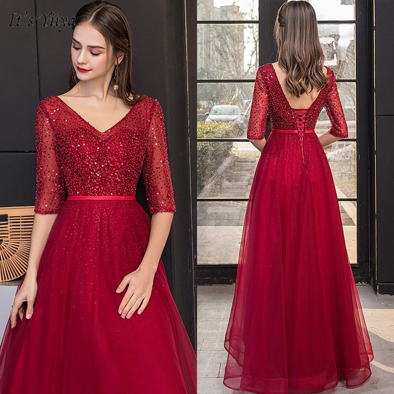 It's Yiiya Evening Dress Beading V-Neck Plus Size Sequin Women Party Dresses Half Sleeve A-Line Floor-Length Robe De Soiree V147