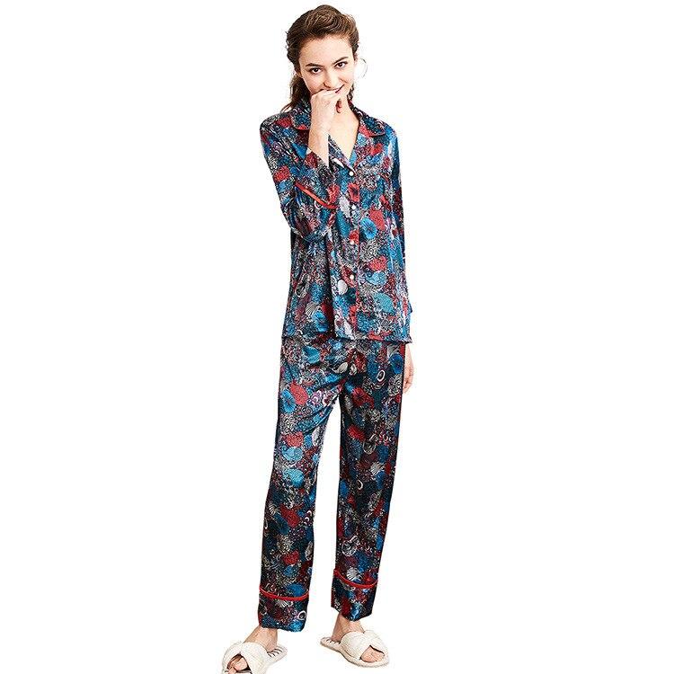 Autumn Winter Silk Imitation Lounge   Set   Sexy Nightgown Women   Pajama     Set   Sexy Sleepwear Women Home Wear Nightwear