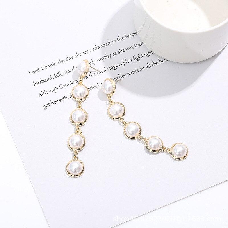 Круглый жемчужные серьги с металлическим краем, длинные серьги-гвоздики с бриллиантами в Корейском стиле