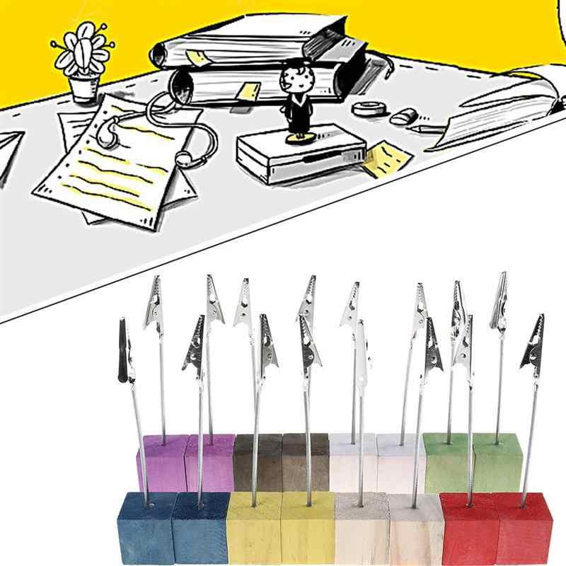 16pcs אורן בסיס תמונה מחזיק מעמד כרטיס הערה שולחן תזכיר קליפ מושב כרטיס סוגר בעל מסמך שולחן עבודה עם פיינווד בסיס אקראי