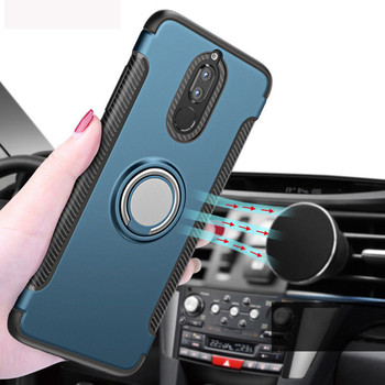 For Huawei Mate 10 Lite Honor 8 9 7X Nova 2 Luxury Magnetic Car Holder Cover For P8 Lite 2017 P10 Plus P20 Pro Armor Stand Case image