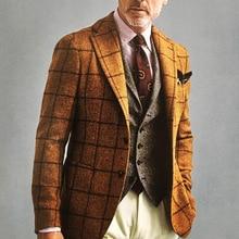 Vintage Check Men Tuxedos England Style Streetwear Fashion Male Plaid Blazer Party Wedding Groom Prom Suit Coat 1 Piece