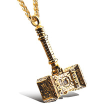 New European American Man Necklace YMS N413 Jewelry 2021 Trend Stainless Steel Color Gold Destroy Thor's Hammer Pendant 60CM