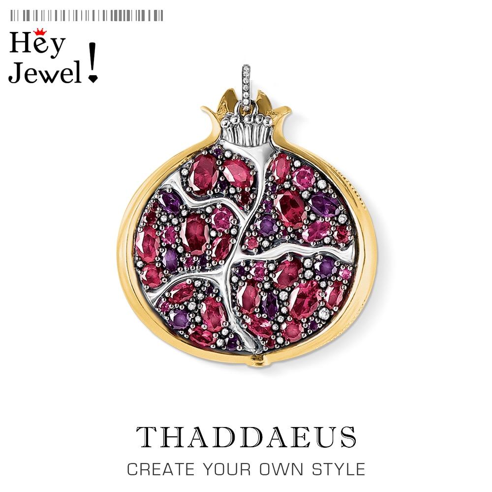 Wisiorek granat, 2020 Brand New Vintage biżuteria Thomas Bijoux 925 srebro Symbol życia prezent dla Ts kobieta