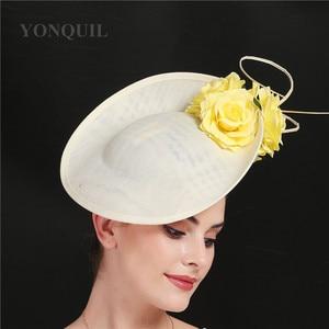 Image 4 - ゴージャスなkenducky大きな髪fascinatorsウェディングカクテル教会帽子エレガントな女性fedoraの女性ファンシー素敵なバラの花の帽子