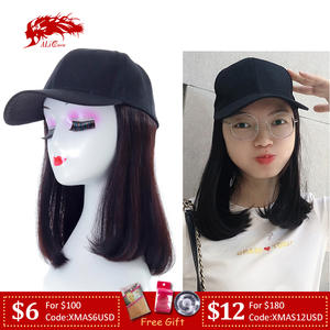 Ali Queen Wig Hat Baseball Cap With Brazilian Straight Remy Human Hair Wigs For Women Female Bob Hat Wigs