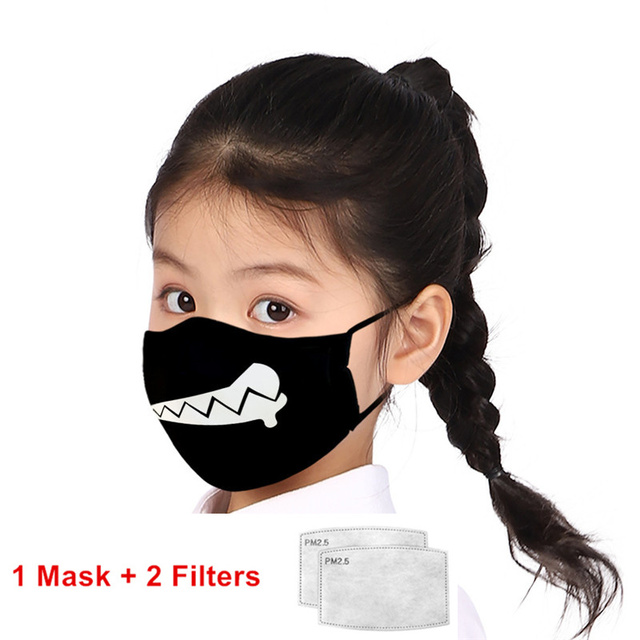 Print Mouth Mask Washable Cotton PM2.5 Filter kids Anti Dust Face Mask Reusable Mouth-muffle Bacteria Proof Flu Children Mask 2