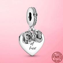 Лидер продаж, кулон-подвеска из серебра 925 пробы с бантом и любовным сердцем, подвеска для оригинального браслета, ожерелья, серебро 925 пробы,...