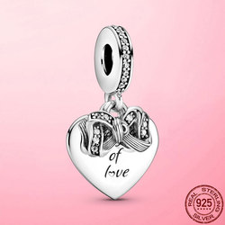 Hot Sale 925 Sterling Silver Bow & Love Heart Dangle Charm Pendant fit Original Bracelet Necklace DIY Silver 925 Jewelry Making
