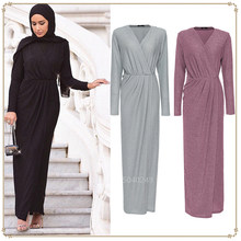 Turkish Abaya Muslim Women Dress Casual Hijab Islamic Pakistani Arab Kaftan Crystal shiny Elastic Knitted Robe Solid Party Wear(China)