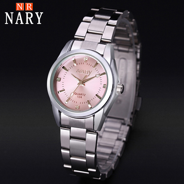 Montre NARY femmes de mode de luxe marque reloj Mujer en acier inoxydable de qualité diamant dames montre à Quartz femmes montres montre femme