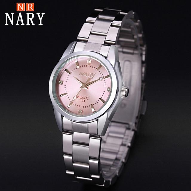 NARY Watch Women Fashion Luxury Brand Reloj Mujer Stainless Steel Quality Diamond Ladies Quartz Watch Women Watches Montre Femme