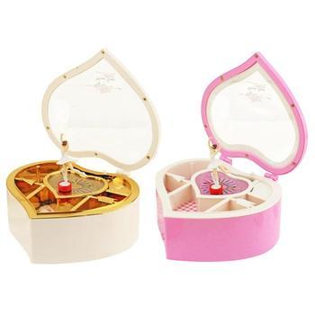 Kształt serca taniec baleriny pozytywka plastikowe pudełko na biżuterię dziewczyny karuzela korba ręczna pozytywka mechanizm prezent
