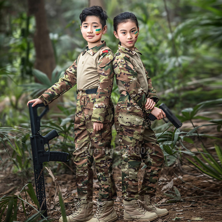 Kids Boys US Army Tactical Military Uniform Airsoft Camouflage Combat-Proven Shirts Pants Rapid Assault Long Sleeve Battle
