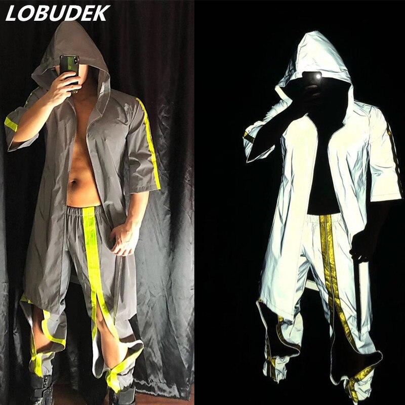 Sexy Men's Fluorescence Set (Hoodies+Pants) Gray Reflective 2-Pieces Bar Nightclub Costume Hip Hop DJ Performance Dance Outfit