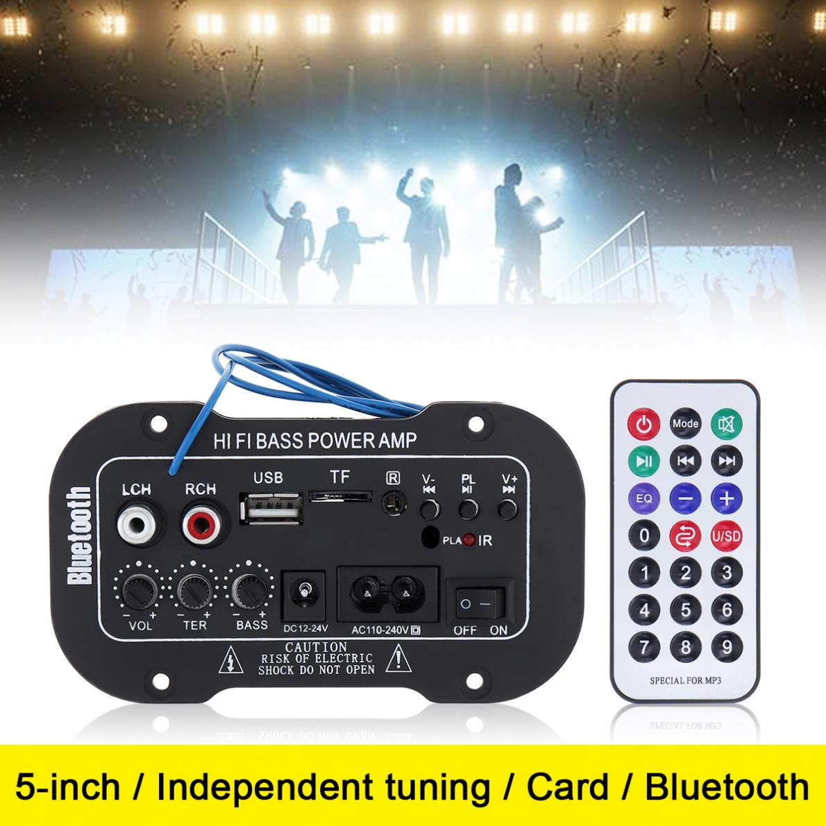 5 Inch 25W HIFI Bluetooth Car Audio Power Amplifier FM Stereo Radio Player Support SD USB DVD MP3 Input for Auto Motorcycle Home