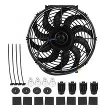 Car Slim Push Pull Electric Engine Cooling Fan 12V with Mounting Kit 12 inch Universal