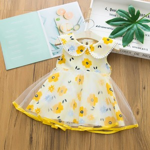 1-6 Years Baby Girls Flower Chiffon Dresses Sleeveless Flower Print Clothes Kids Summer Princess Dress Party Dress Outfit#P30