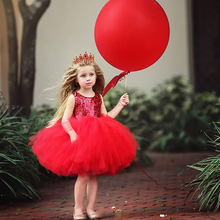 2020 Pageant Baby Girl Princess Dress Kids Tutu Tulle Backless Party Costume Red Ball Gown Girls Formal Dresses High Quality