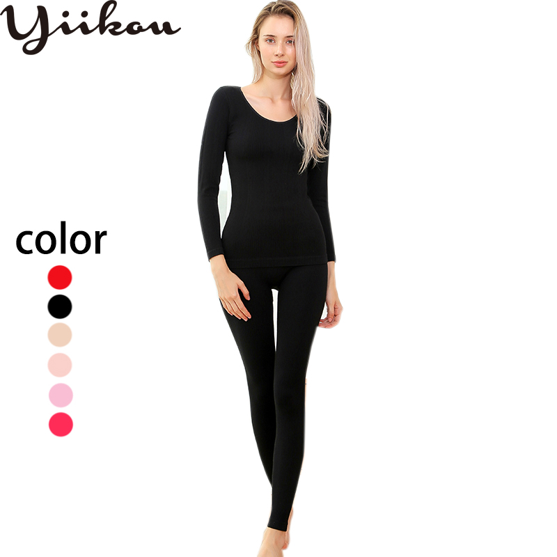 Women's Slim Breathable Thermal Underwear For Round Collar Seamless Body Autumn Clothes Set Knitted Flowers Thermal Underwear
