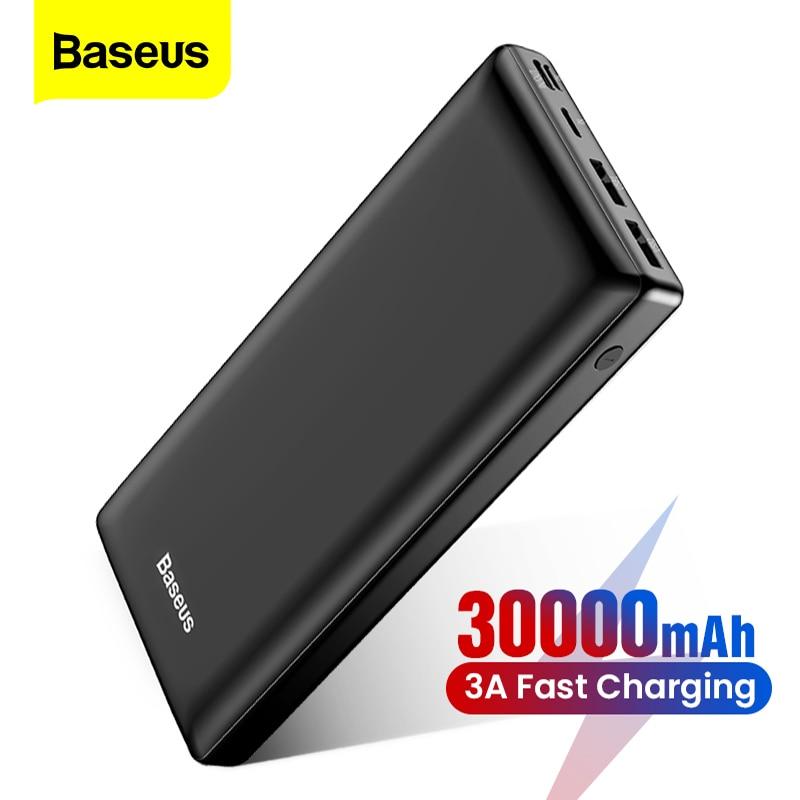Блок питания Baseus с USB разъемом, портативный внешний аккумулятор емкостью 30000 мАч для Xiaomi iPhone Samsung, внешнее зарядное устройство