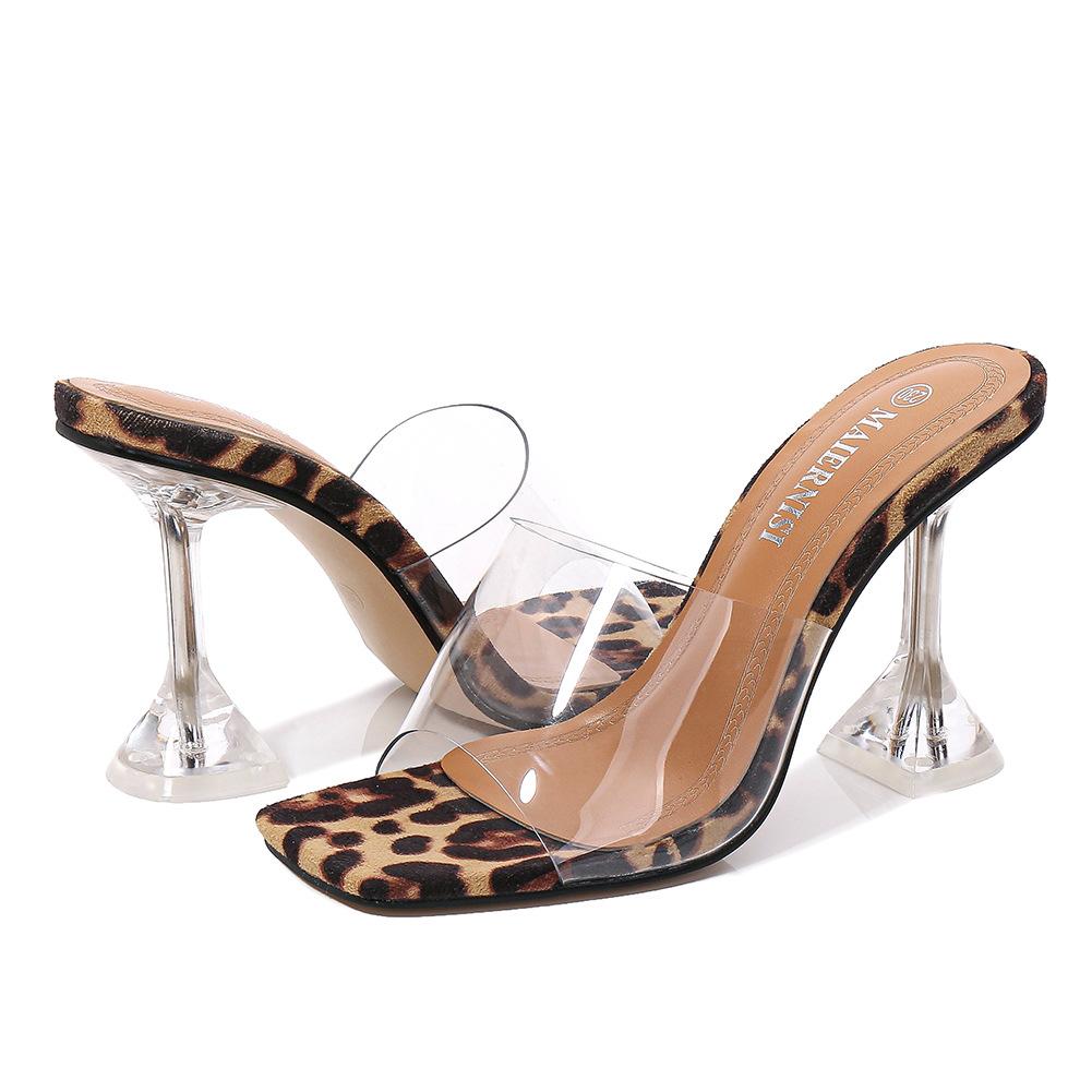 MAIERNISI Big Shoes 45 46 Leopard Print Sandals Open Toe High Heels Women Transparent Perspex Slippers Shoes Heel Clear Sandals