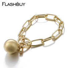 Flashbuy Fashion Metal Gold Silver Chain Bracelets For Women Trendy Metal Ball Charm Lock Alloy Bracelet Vintage Female Bangles alloy metal star charm chain bracelet