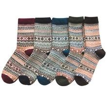 5 пар зимние носки теплые удобные этнические шерстяные носки муж