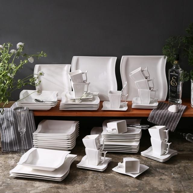 MALACASA FLORA 60-Piece White Porcelain Dinner Set with 12*Cup,Saucer,Dessert Soup Dinner Plate Dinnerware Set Service 12 Person 3