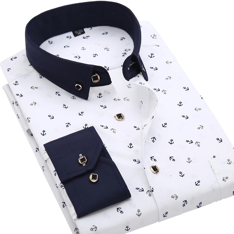 Men Shirt Long Sleeve Floral Printing Plaid Fashion Pocket Casual Shirts 100% Polyester Soft Comfortable Men Dress Shirt DS375 5