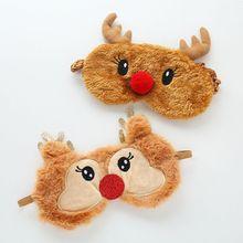 Милые Маски для сна, зимние теплые короткие плюшевые Мультяшные маски для сна с изображением оленя, рождественские маски для глаз