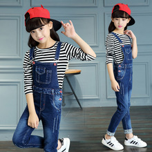 Denim Overalls For Girls Jeans Autumn Kids Pants Children Clothing Girls Jumpsuit 4 8 10 12 Years Child Fashion Ripped Trousers