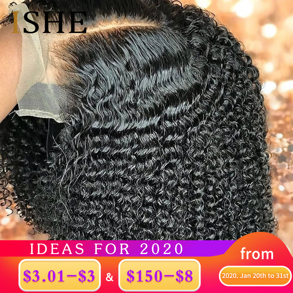 Kinky Curly Wig 360 Lace Frontal Wig 13x6 Lace Front Human Hair Wigs Afro Kinky Curly Pre Plucked Lace Wigs For Black Women ISHE