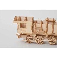 3D Puzzle En Bois pour enfant DIY Modèle De Vapeur Locomotive Bureau Artisanat Kits 8
