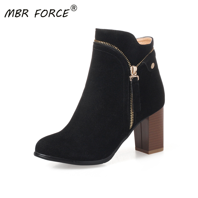 MBR FORCE High Quality Women Ankle Boot Fashion Leather High Heels Ladies Shoes Short Boots Woman Shoes Zapatos De Mujer black